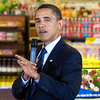 President Obama speaks during a townhall meeting on health care at a Kroger's grocery