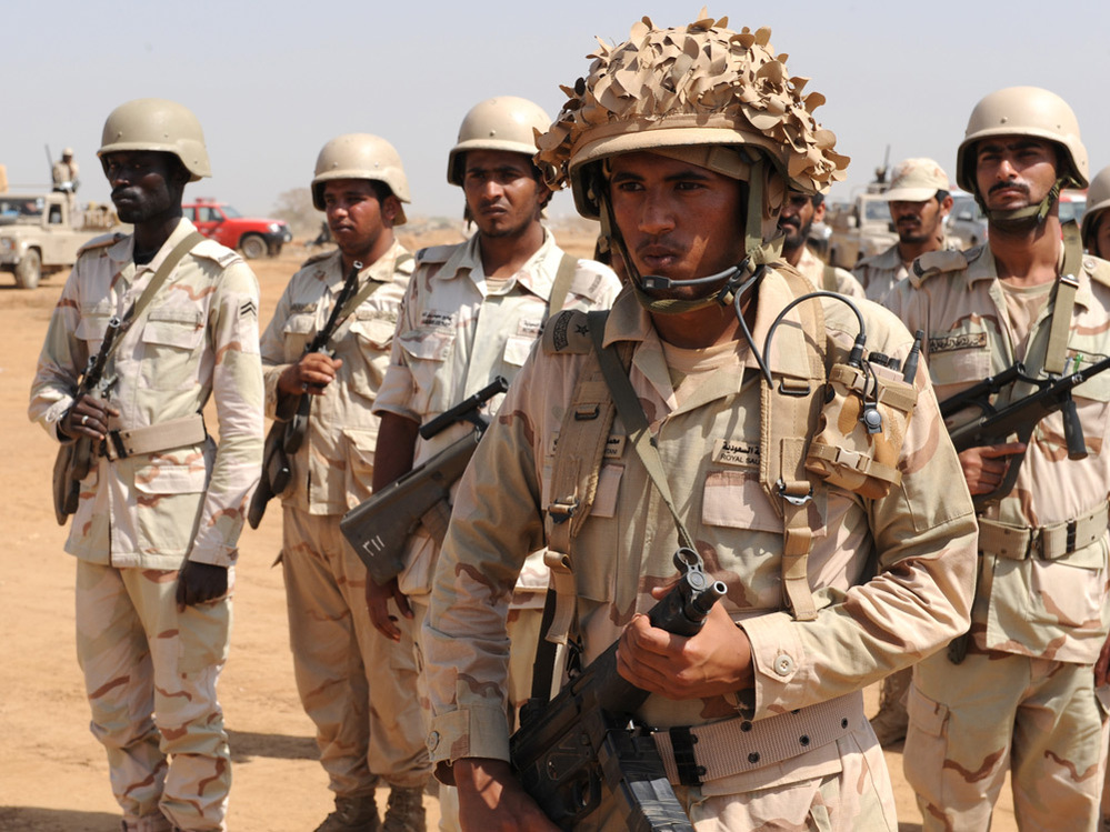 Saudi soldiers deploy in the southern Saudi province of Jizan on the border with Yemen on Nov. 8.