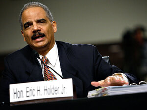 Attorney General Eric Holder testifies during a hearing before the Senate Judiciary Committee.