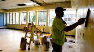 Kelly Plandel renovates a classroom in Portland, Ore.