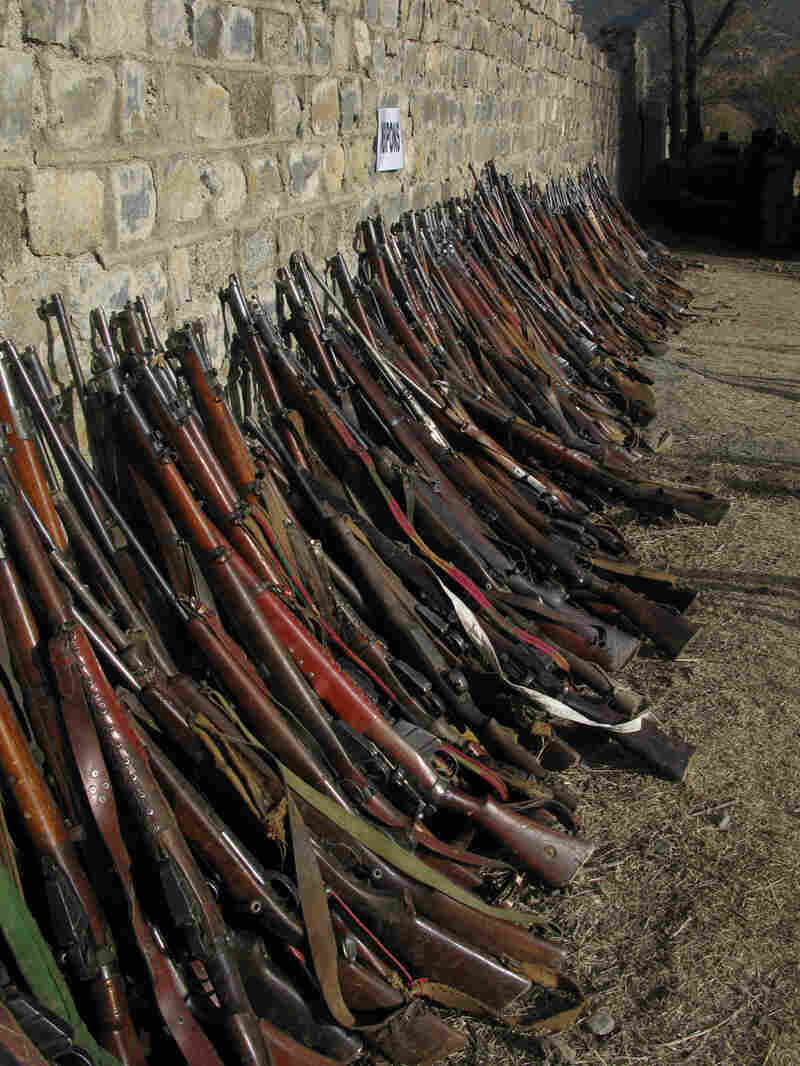 Some of the weapons uncovered in the Taliban stronghold of Laddah, Pakistan.