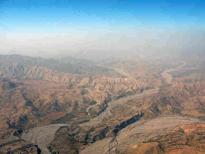 The rugged landscape of Pakistan's South Waziristan captured from an army copter.