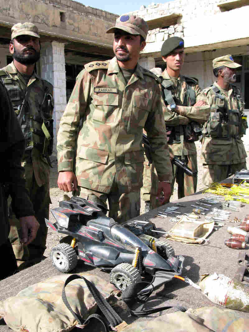 A booby-trapped toy car is among the scores of improvised explosive devices found in Pakistan.