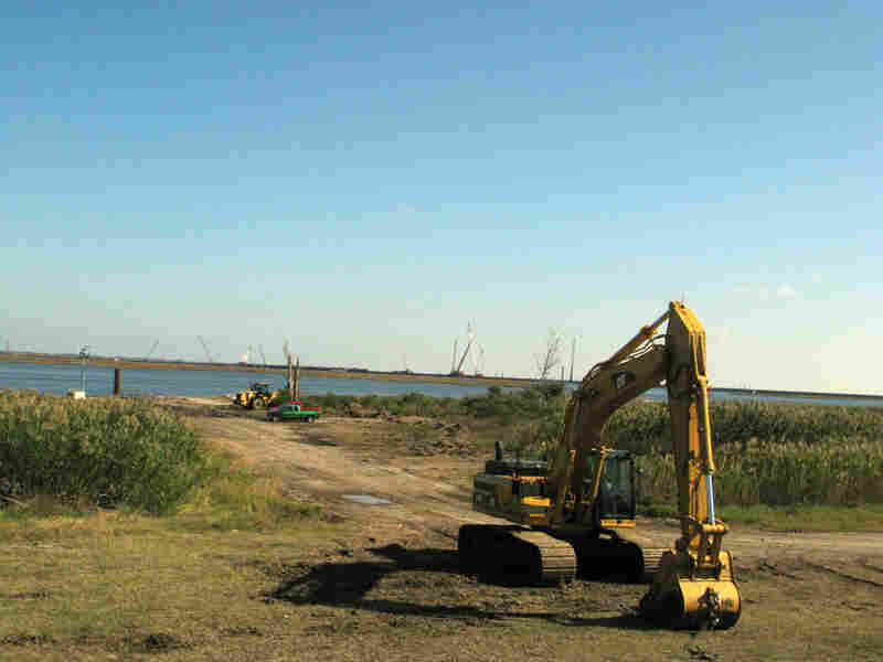 Construction is underway along the Mississippi River Gulf Outlet east of New Orleans.
