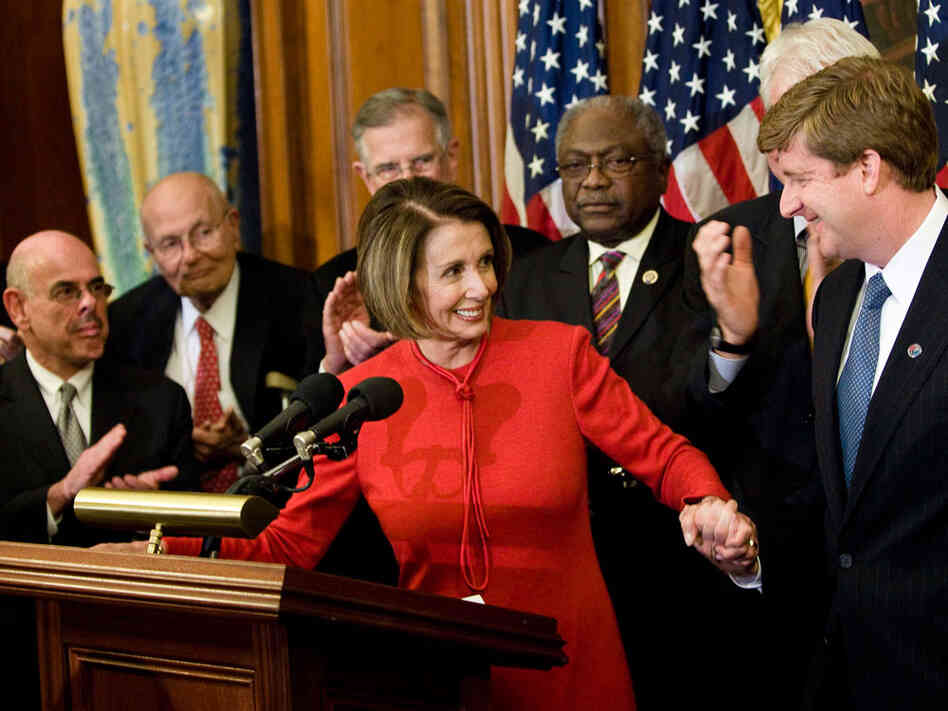 Speaker of the House Nancy Pelosi with fellow Democrats