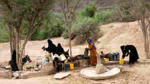 WIDE: Yemeni women gather around a water well south of Sana'a, the Yemeni capital
