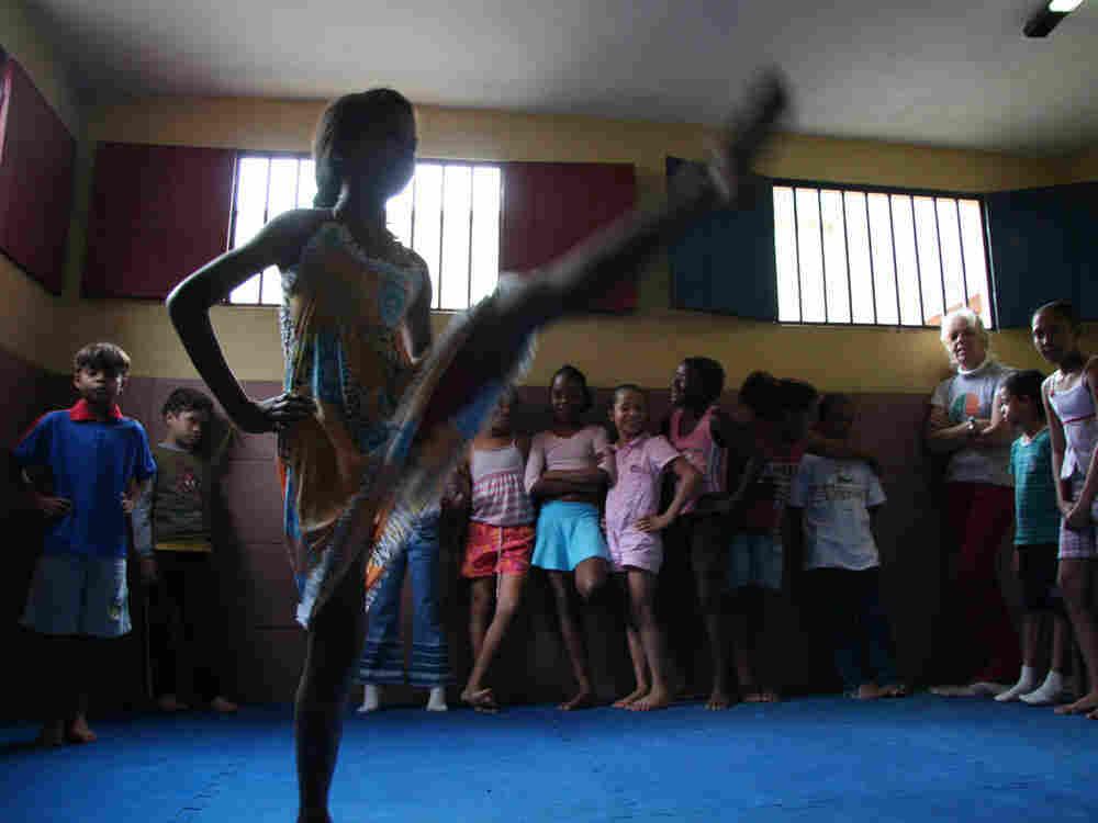 Girl dancing in school.