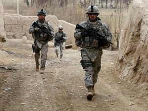 Members of the South Carolina National Guard patrol near the town of Baraki Barak.