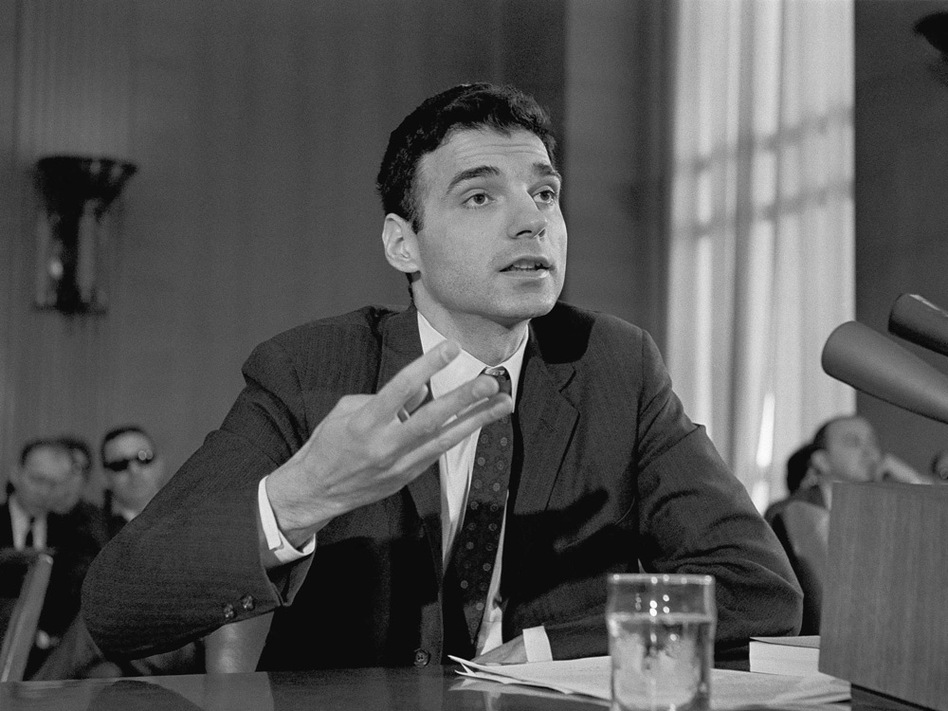 Ralph Nader testified before a Senate Public Works subcommittee in April 1966, the year after he released his book <em>Unsafe At Any Speed.</em> Nader contended the industry and the government were impeding progress in reducing the highway accident toll by policies of secrecy. This led lawmakers to pass the National Traffic and Motor Vehicle Safety Act and the Highway Safety Act.