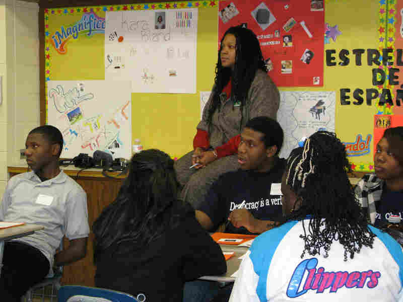 Chicago public high school students learning peace and non-violence strategies.