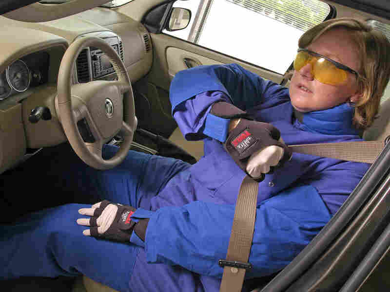"""Ford's """"aging suit"""" helps designers identify what is difficult for older drivers."""