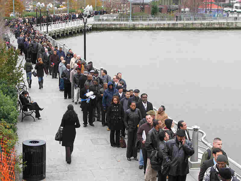 Veterans lined up for a job fair onboard the USS Intrepid in New York.