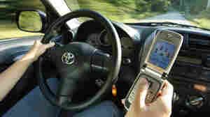 Wide: A driver uses a cell phone in Freeport, Maine.