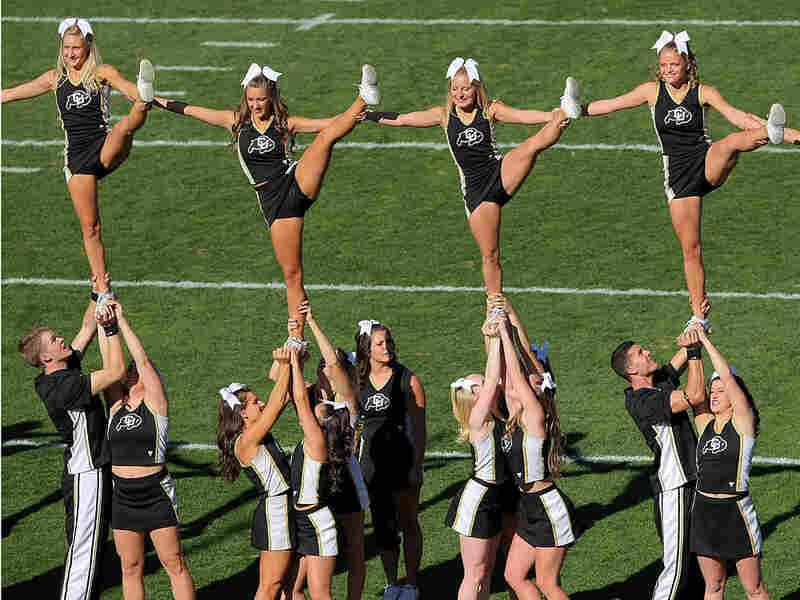 The Colorado Buffaloes cheerleaders perform