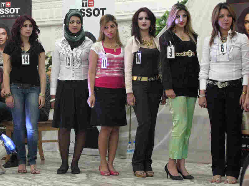 Contestants line up for the Miss Hunt Club pageant.