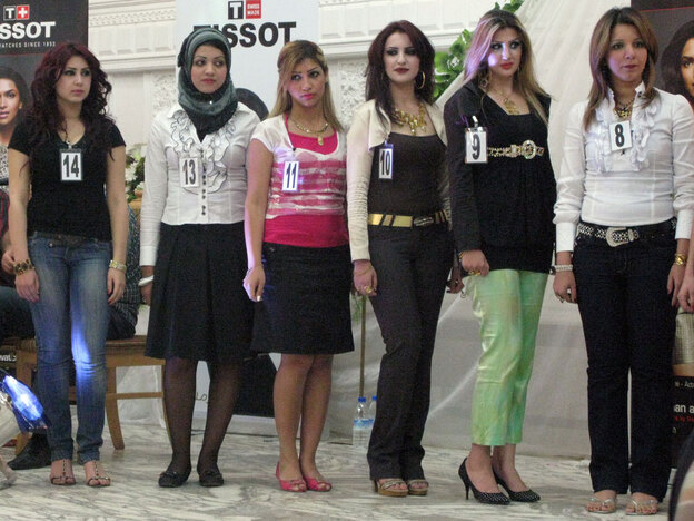 Contestants line up for the Miss Hunt Club pageant at Baghdad's exclusive gathering spot. At the height of Iraq's sectarian violence, being covered up was a matter of life and death. But in some places now, women in Baghdad can wear trendy fashions.