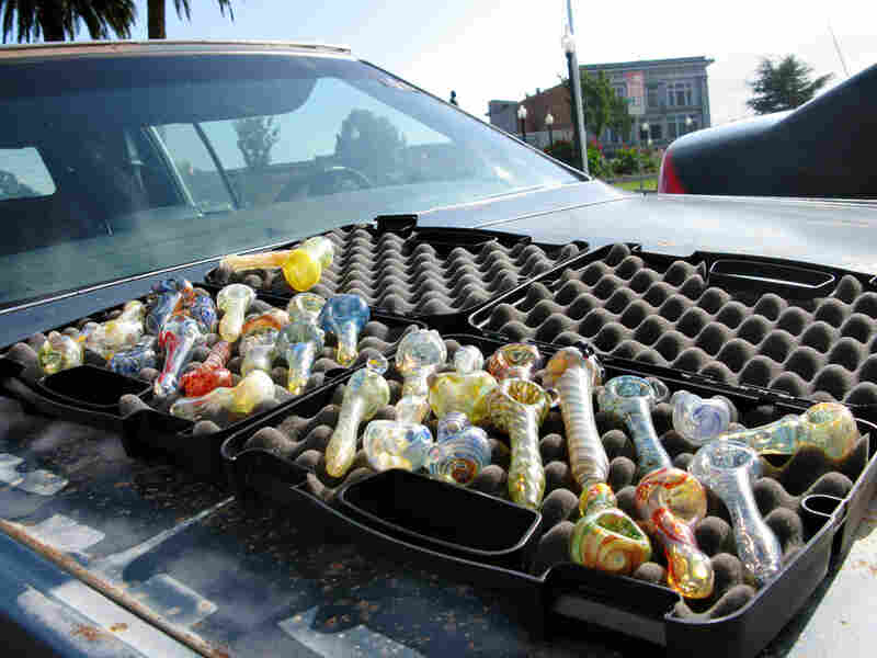 Hand-made pipes sold in downtown Arcata, Calif.