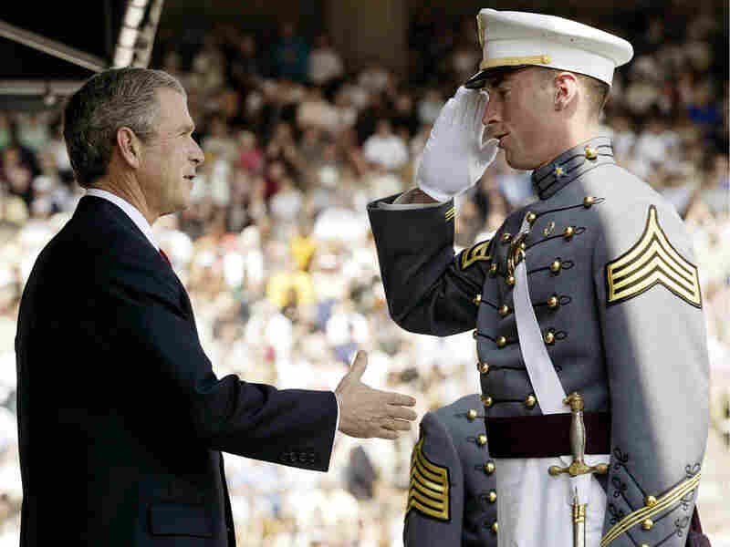 President Bush congratulates Matthew Nethers at the 2002 commencement ceremony at West Point.