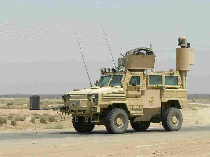 An MRAP on the road in Iraq