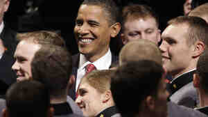 President Obama with cadets after speaking about his Afghanistan policy.