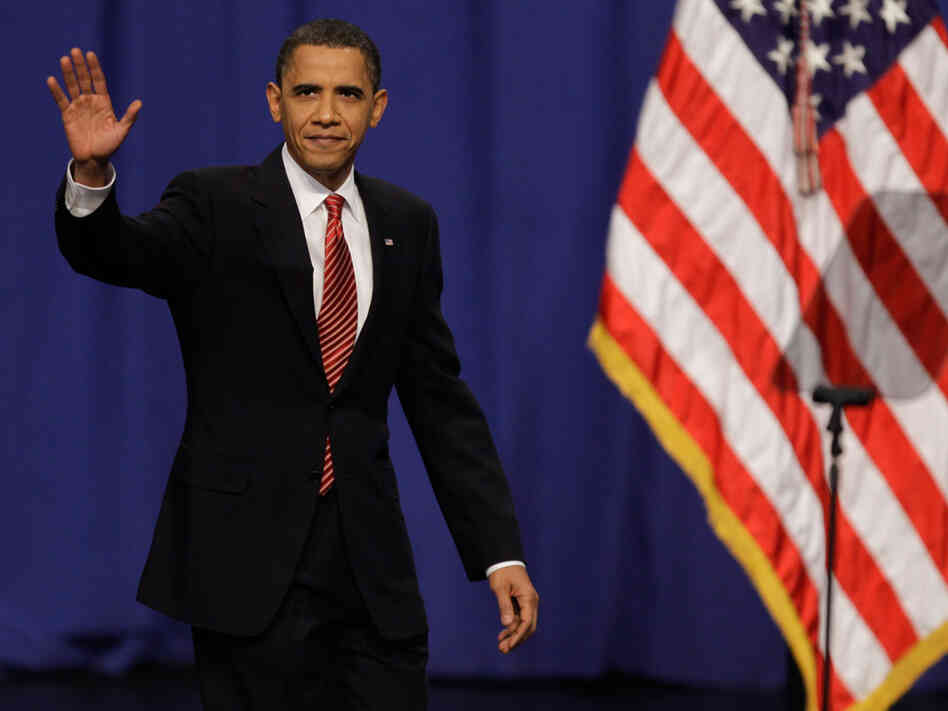 President Obama waves to cadets before speaking about his Afghanistan policy.