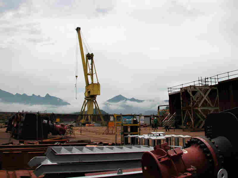 Enormous oil production platforms under construction in Angra