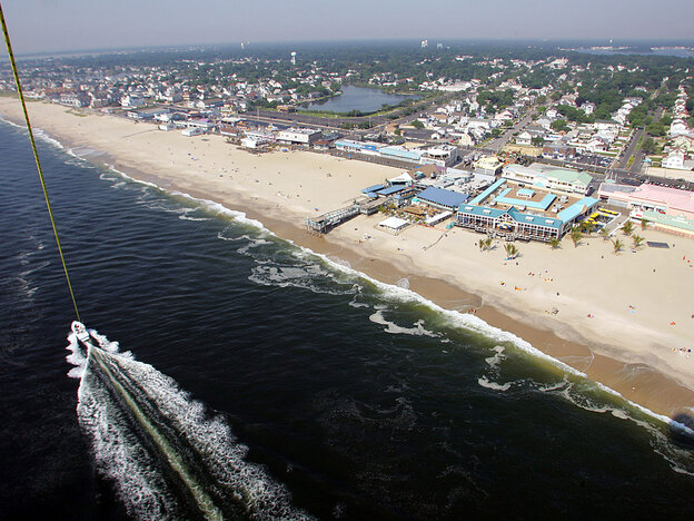 The view shown while parasailing above the Atlantic Ocean off the coast of the New Jersey Shore. Do you spy the Italian-American stars of MTV's <em>Jersey Shore</em>?