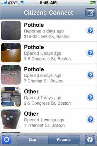 An iPhone screen displays Boston's Citizens Connect app.