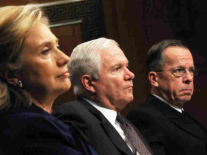 Sec. of State Hillary Clinton, Sec. of Defense Robert Gates and Joint Chiefs Chairman Mike Mullen