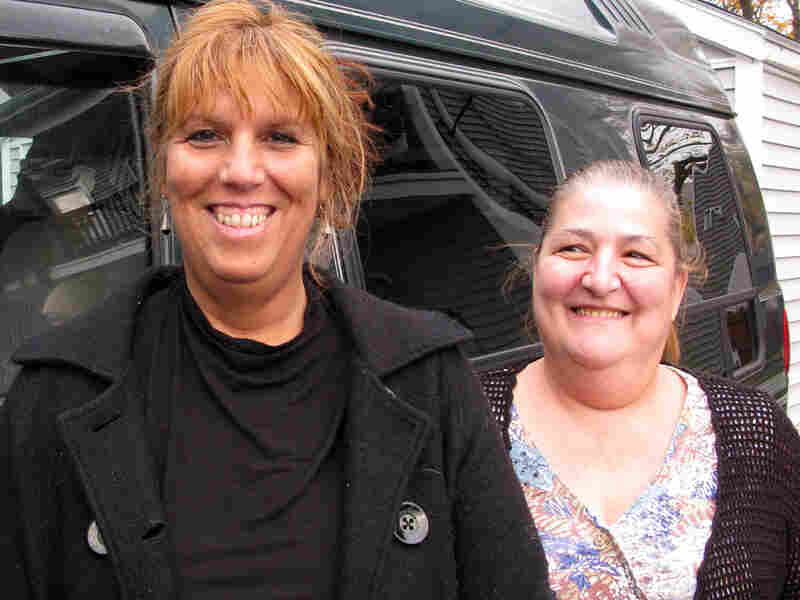 Beverly Sylvia and her friend Linda Rose in New Bedford, Mass.