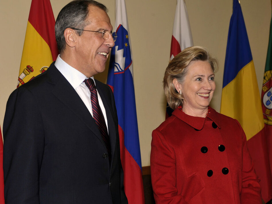 "Russian Foreign Minister Sergei Lavrov and U.S. Secretary of State Hillary Clinton are seen Friday at NATO headquarters in Brussels. Of negotiations on a replacement for the 1991 Strategic Arms Reduction Treaty, Clinton said, ""We always knew this would be very difficult."""