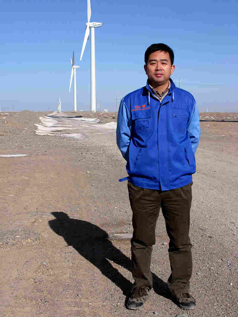 Zhang Huayao, an engineer who has spent two years building the wind farm in Jiayuguan, Gansu