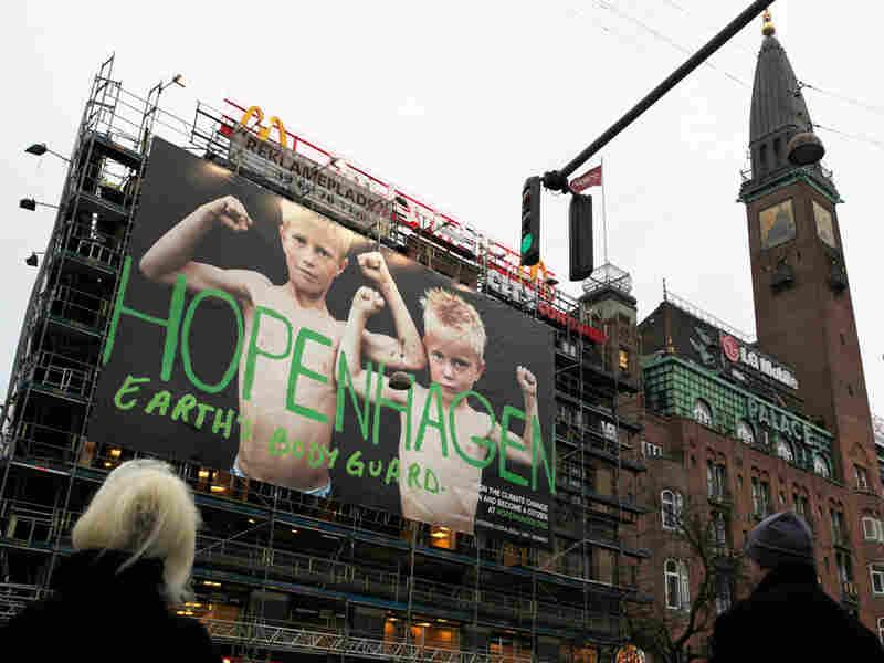 """A poster in Copenhagen reads """"Hopenhagen Earth Body Guard"""""""
