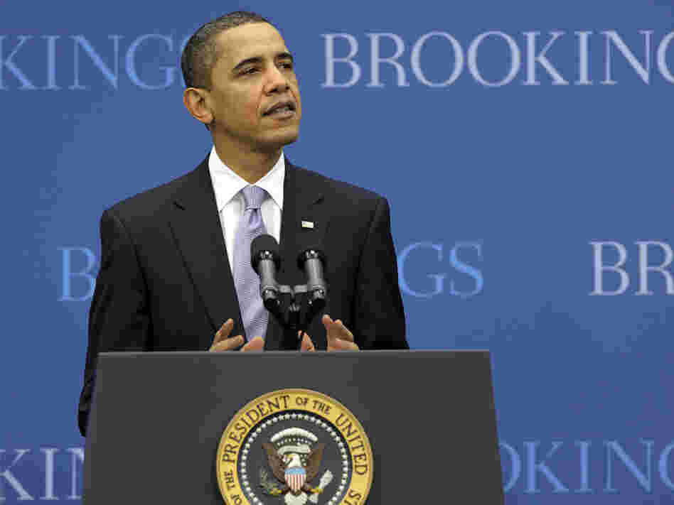 President Obama delivers a speech on the economy at the Brookings Institution in Washington, D.C.