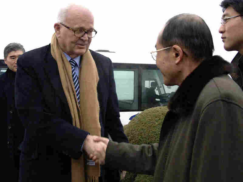 Stephen Bosworth, President Obama's special envoy for North Korea, arrives in Pyongyang