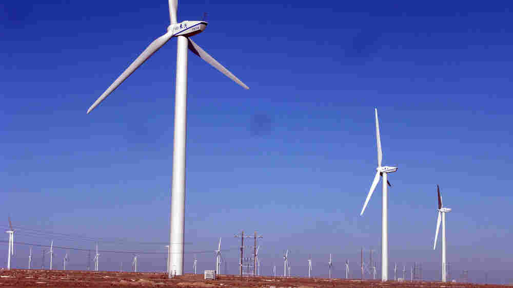 Wind farm in Yumen district of Jiuguan, Gansu province