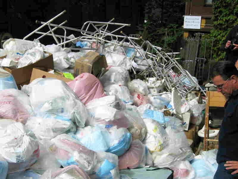 Supplies piled up outside McLellan's house