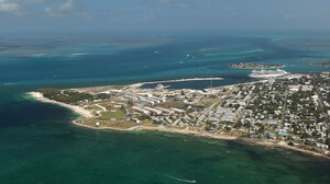 An aerial view of Ford Zachary Taylor Historic State Park and the Port of Key West.