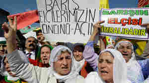 Turkish Kurds in Istanbul, Turkey, demonstrate in support of Kurdish rebels, Oct. 19, 2009.