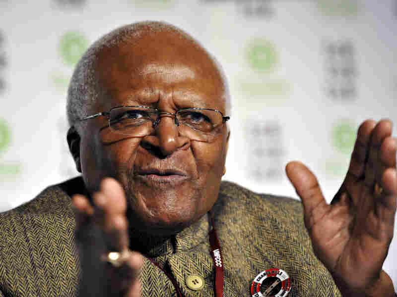 Archbishop Desmond Tutu speaks during an Oxfam international climate hearing in Copenhagen, Dec. 15.