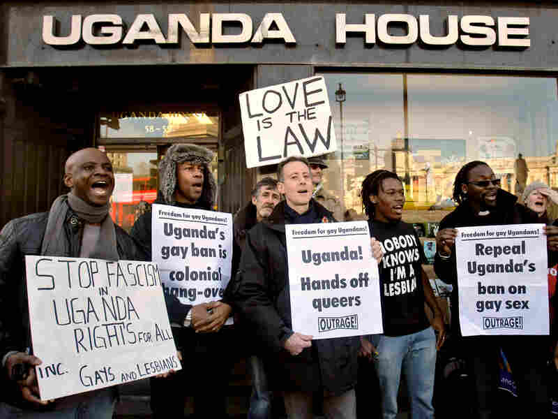 Gay rights demonstrators protest outside the Uganda High Commission in London, Dec. 10, 2009.