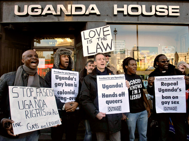 Gay rights demonstrators protest outside the Uganda High Commission on Thursday in London. Proposed legislation would impose the death penalty for some gay Ugandans, while family and friends could face up to seven years in jail if they fail to report them to authorities.