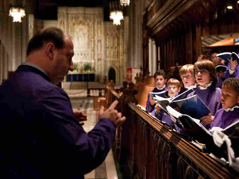 Choir Director Michael McCarthy leads members of the National Cathedral Boy Choristers.