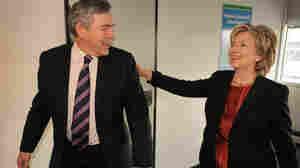 British Prime Minister Gordon Brown meets with U.S. Secretary of State Hillary Clinton in Copenhagen