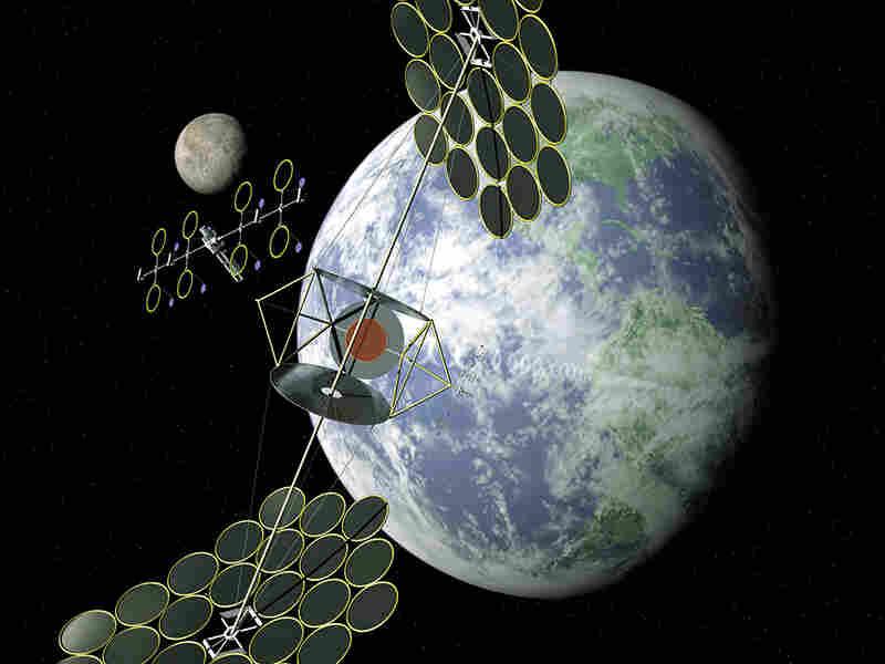A NASA conceptual image shows one method of gathering solar energy.
