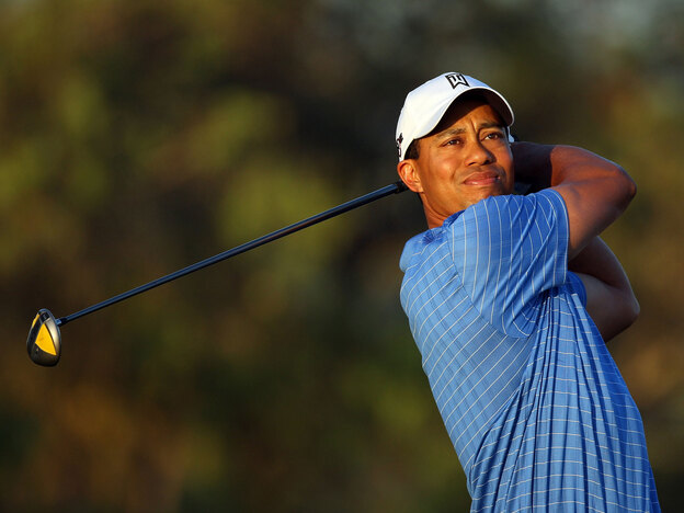 Tiger Woods drives from the fifth tee during the final day of practice for the World Golf Championships in March.