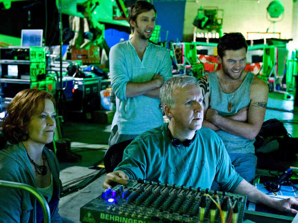 James Cameron and actors on the 'Avatar' set
