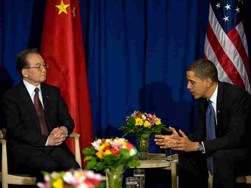 President Obama talks with Chinese Premier Wen Jiabao at a meeting at the U.N. climate summit.