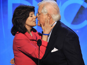 Sen. Edward Kennedy receives a kiss from his wife Vicki. Paul J. Richards/AFP/Getty Images