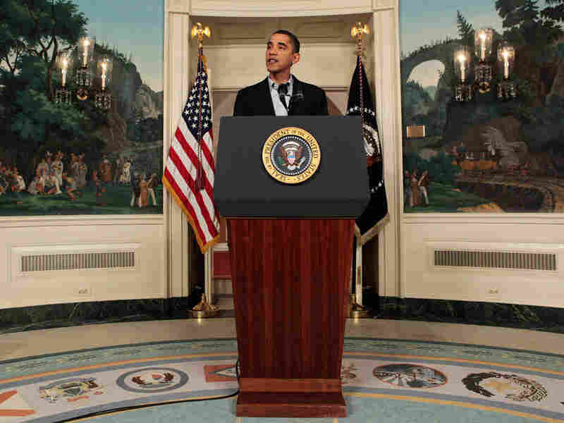 President Barack Obama makes a statement after his return from the Climate Conference